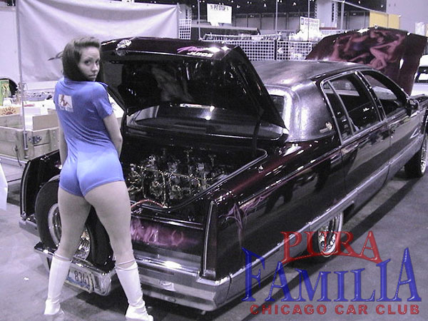 Model posing with Rene's Caddy
