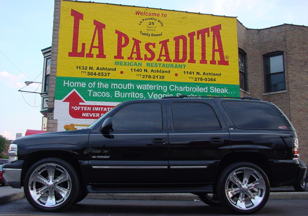 Rene's truck parked in front of La Pasadita Restaurant Sign... That's what I call Advertising!!!