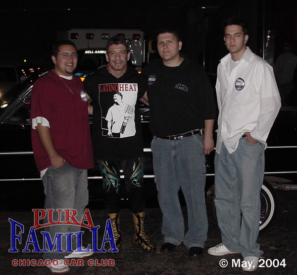 Dave, Eddie, Art and (Dave's friend) after the WWE Smackdown show.